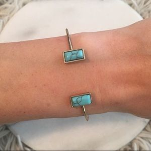Jewelry - Gold cuff bracelet with teal gemstones